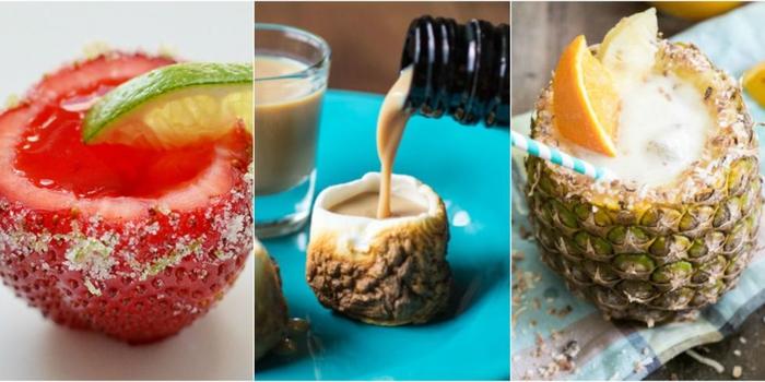 attraktive Cocktails ohne Gläser, Erdbeeren, Baileys und Ananas, coole Ideen für Sommerpartys