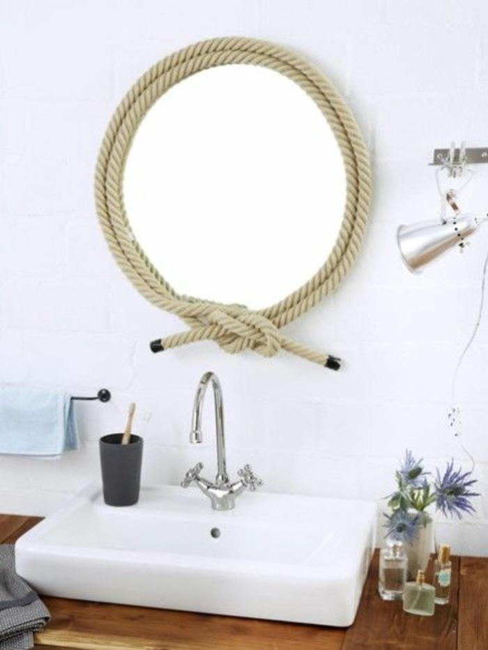 bad deko selber machen runder spiegel mit kordel band umwinckeln