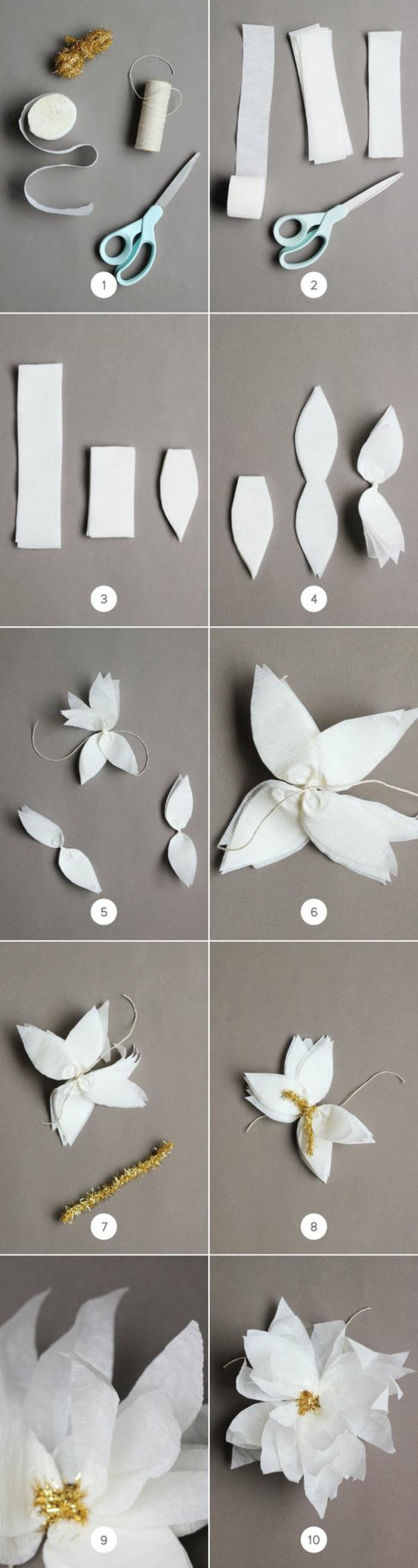 basteln mit krepppapier, weißes kreppband, schere, diy papierblumen