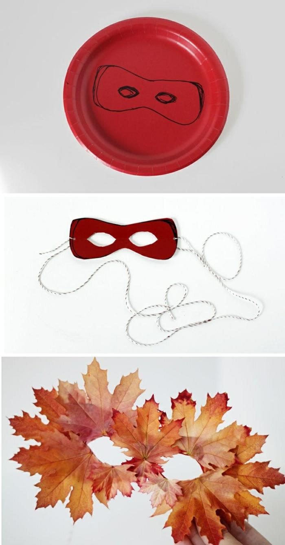 maske aus papierteller und herbstblättern selber machen, schnur, roter teller