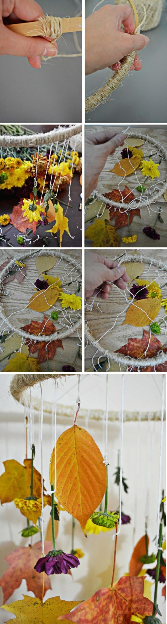 diy mobile aus herbstblättern, faden und stickrahmen selber bauen