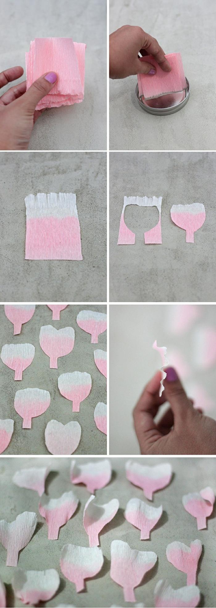 nelken aus krepppapier selber machen, blumenblätter schneiden