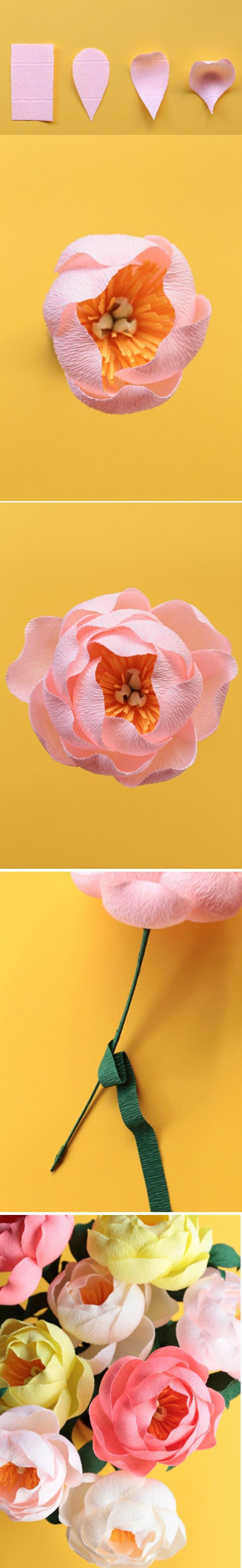 blumenblätter aus papier, blumenstrauß, kunstblumen aus krepppapier