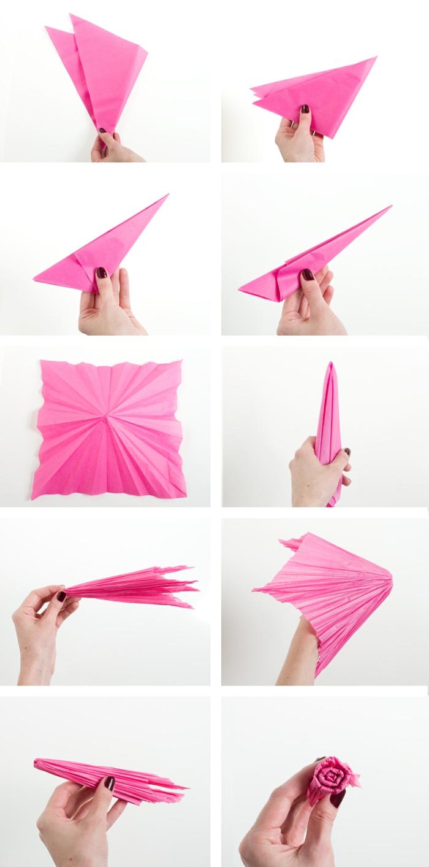 papierblume falten, nelke aus rosa seidenpapier selber machen
