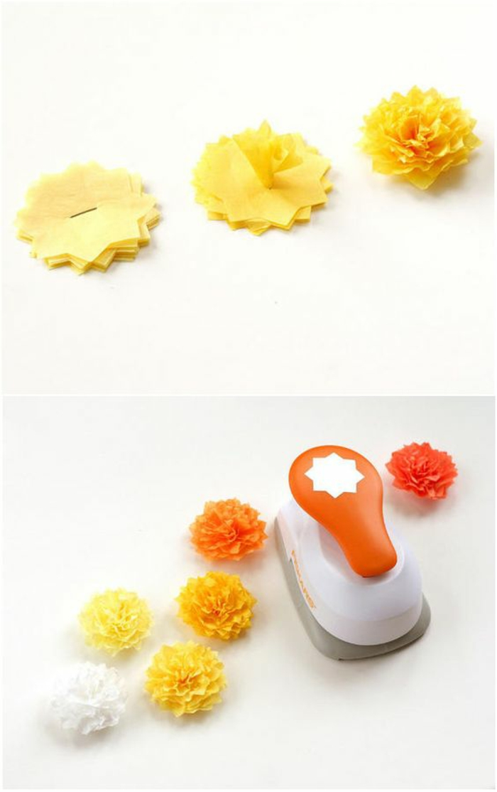 kleine gelbe blumen aus papier, mit kreppband basteln, drahthafter