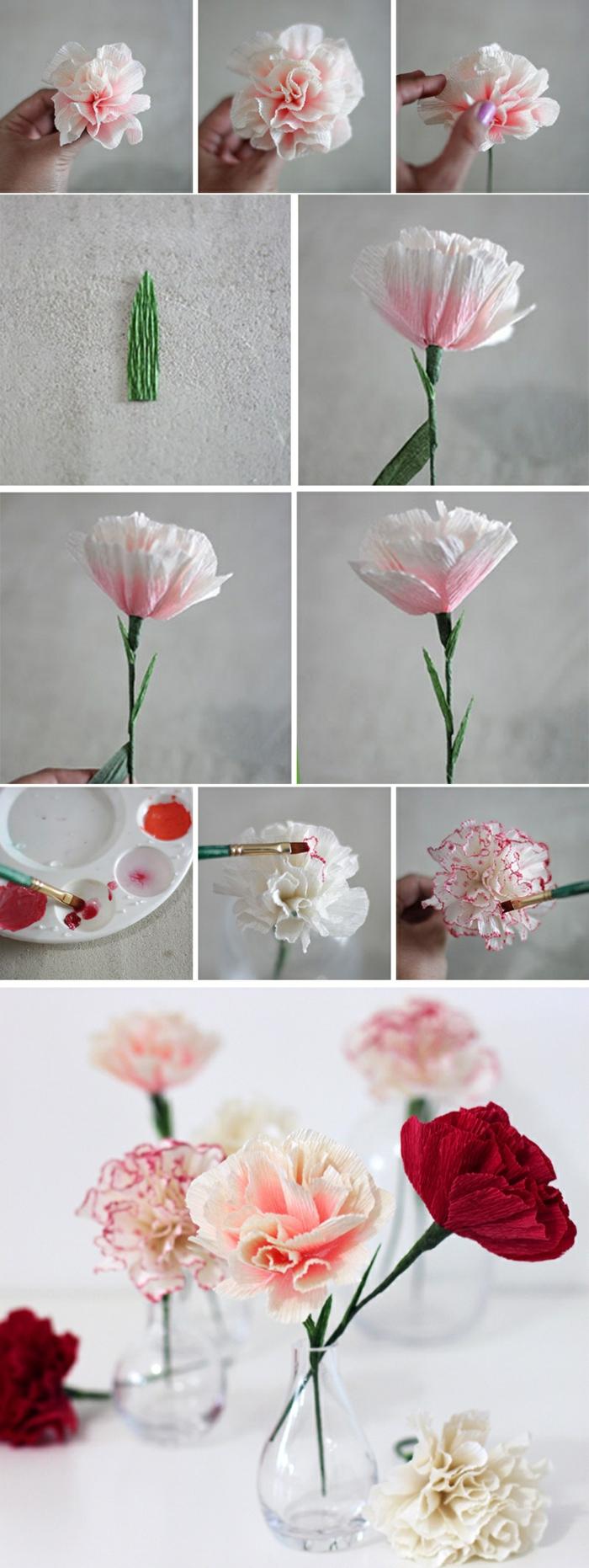 glasvase mit glumen, diy nelken aus papier selber machen