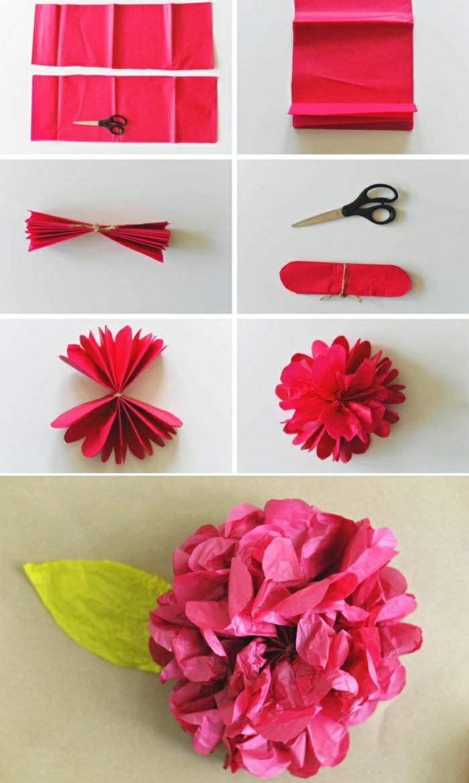 papierblume selber machen, rosa papier, seidenpapier, schere, blume