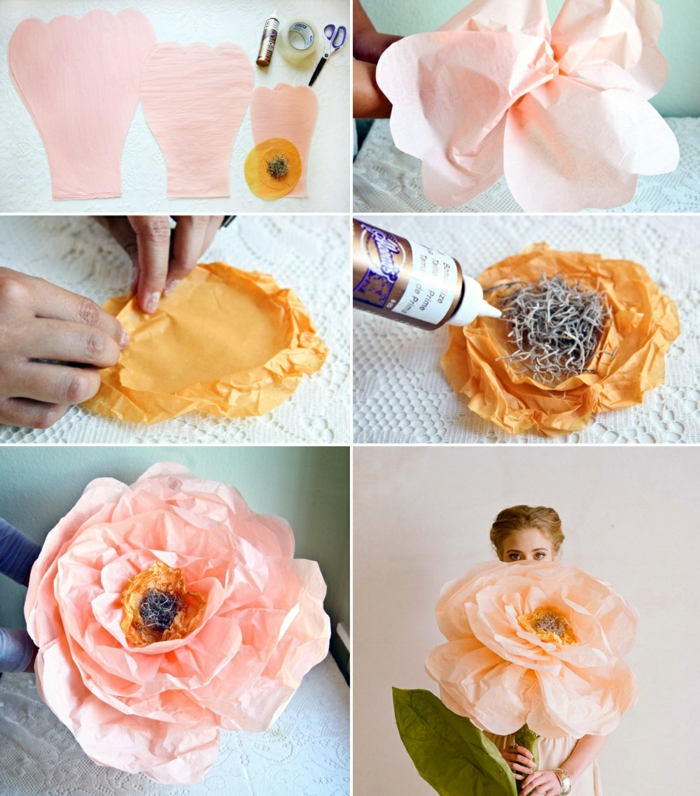 papierblumen basteln, große blume aus rosa papier, schere, klebeband