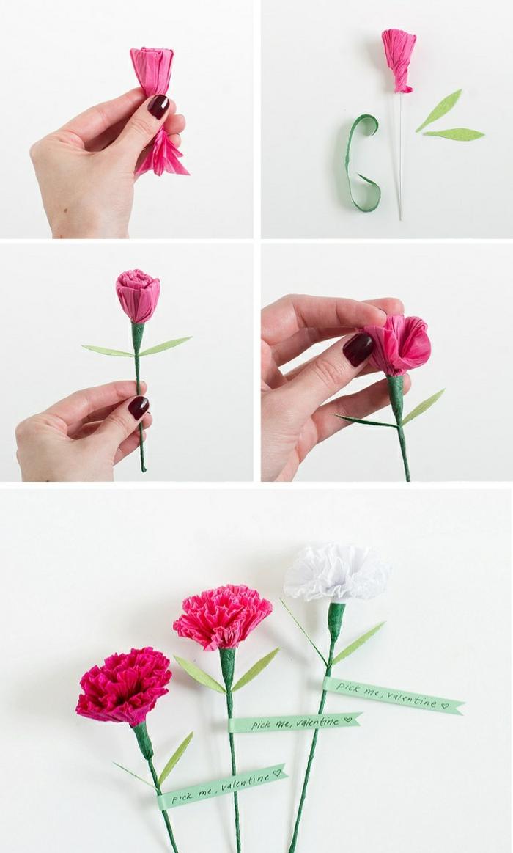 papiernelken, nelke aus seidenpapier, valentinstag, blumen aus papier