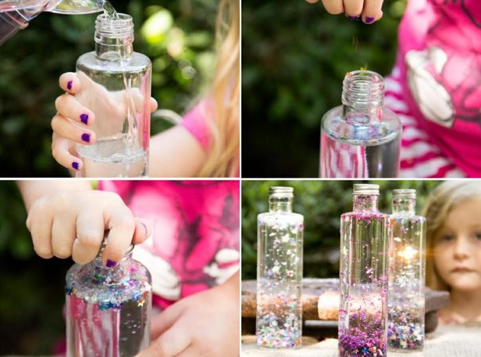 magische flaschen selber machen, wasser, glycerin, konfetti, basteln mit kindern