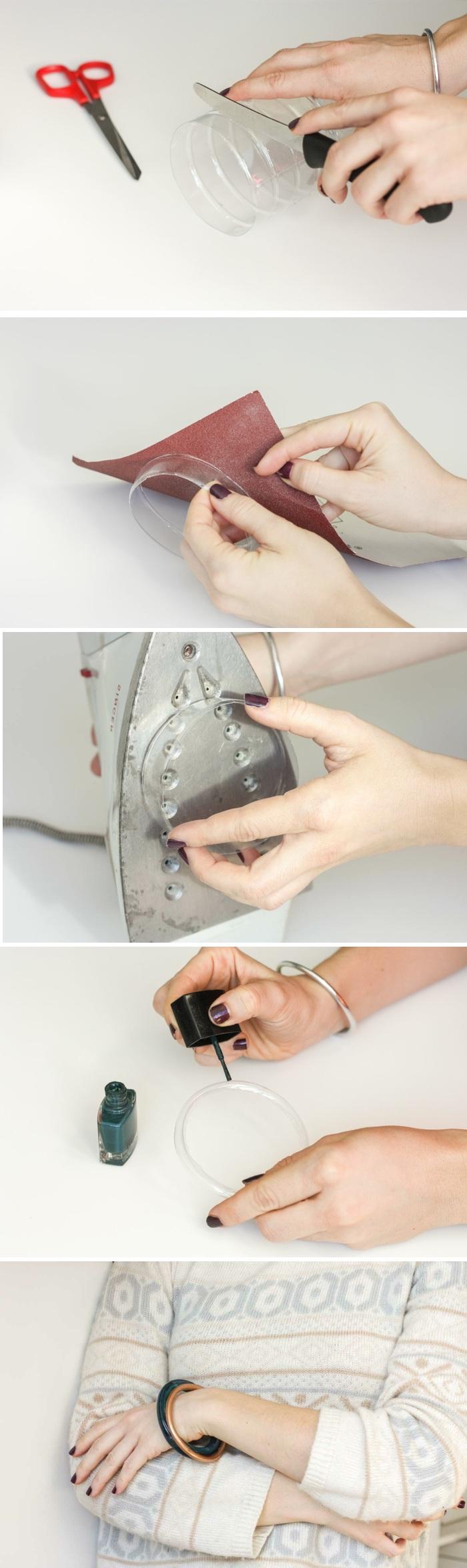 basteln mit plastikflschen, diy schmuck, armband aus plastik, bügeleisen, schleifpapier