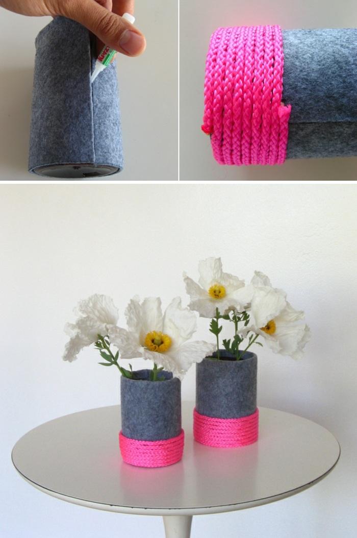 diy vasen selber machen, flasche, drauer stoff, rosa seil, weiße blumen
