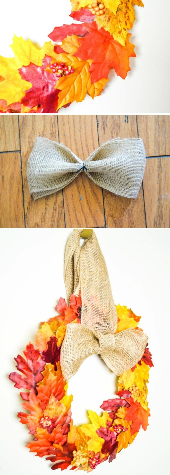 türkranz selber machen, schleife binden, leinenband, herbstblätter, wanddeko