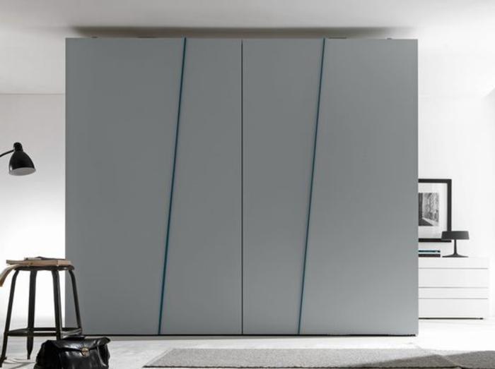 Kleiderschrank Ideen verspieltes Design grauer Farbton