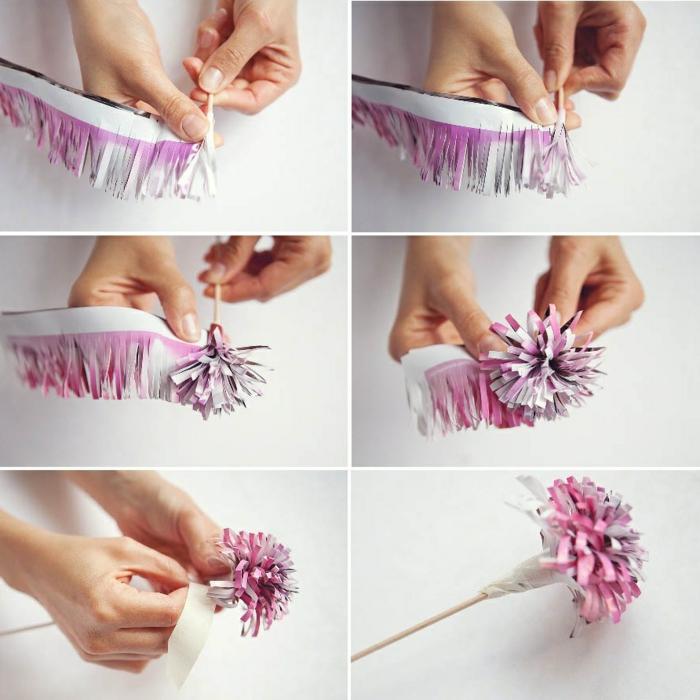 papierblume aus zeitschrift selber machen, holzstäbchen, klebeband