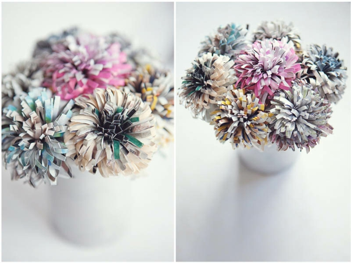 papierblumen basteln aus zeitschrift papier, weiße vase, diy deko
