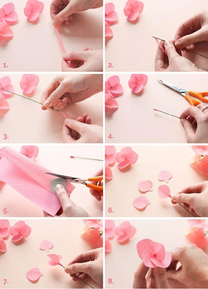 diy blumen aus papier anfertigen, schere, rosa krepppapier