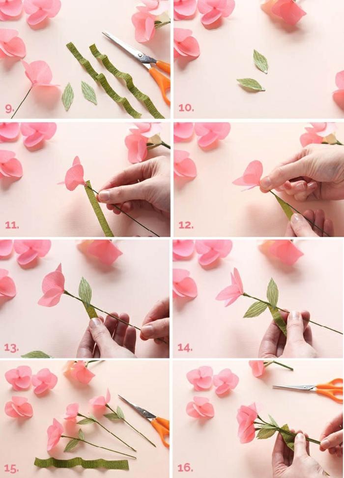 basteln mit krepppapier, rosa papierblume selber machen, schere, blumenblätter