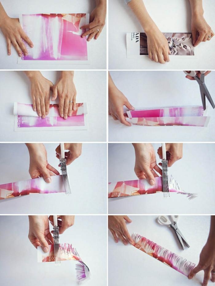 diy deko aus papier selber machen, papierblume, schere, zeitschrift
