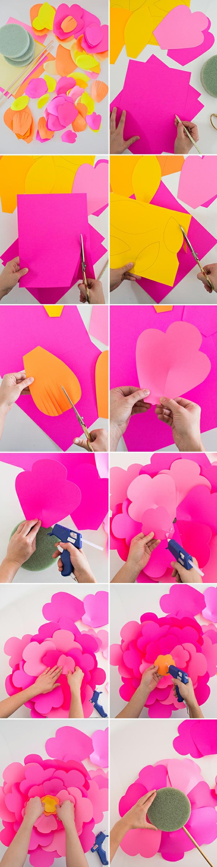 papierblumen basteln, große blume aus rosa karton, heißklebepistole