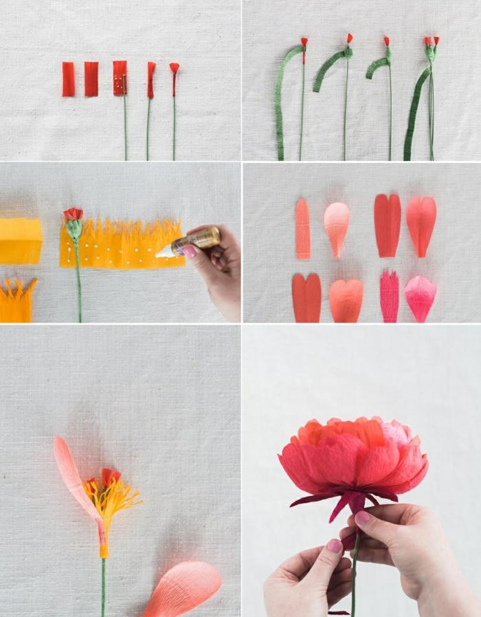 papierblumen basteln, draht, buntes krepppapier, rote papierblume