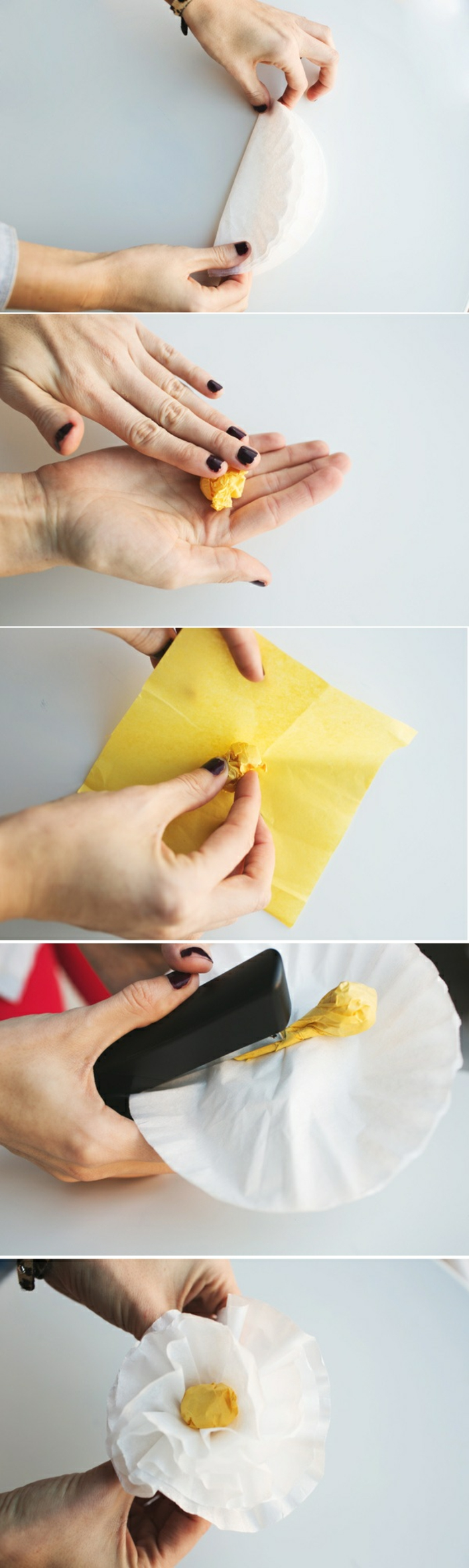 papierblumen basteln, weiße blume aus papier falten, drahthafter,