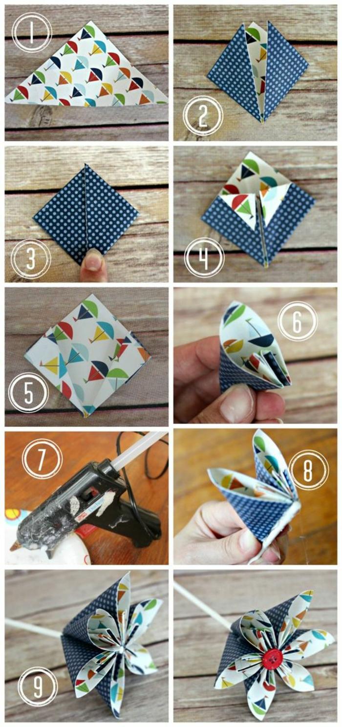 bastelideen mit papier, kleine blumen aus buntem papier selber machen