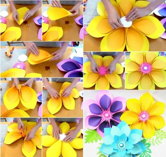 wanddeko aus papier, große papierblumen aus karton selber machen
