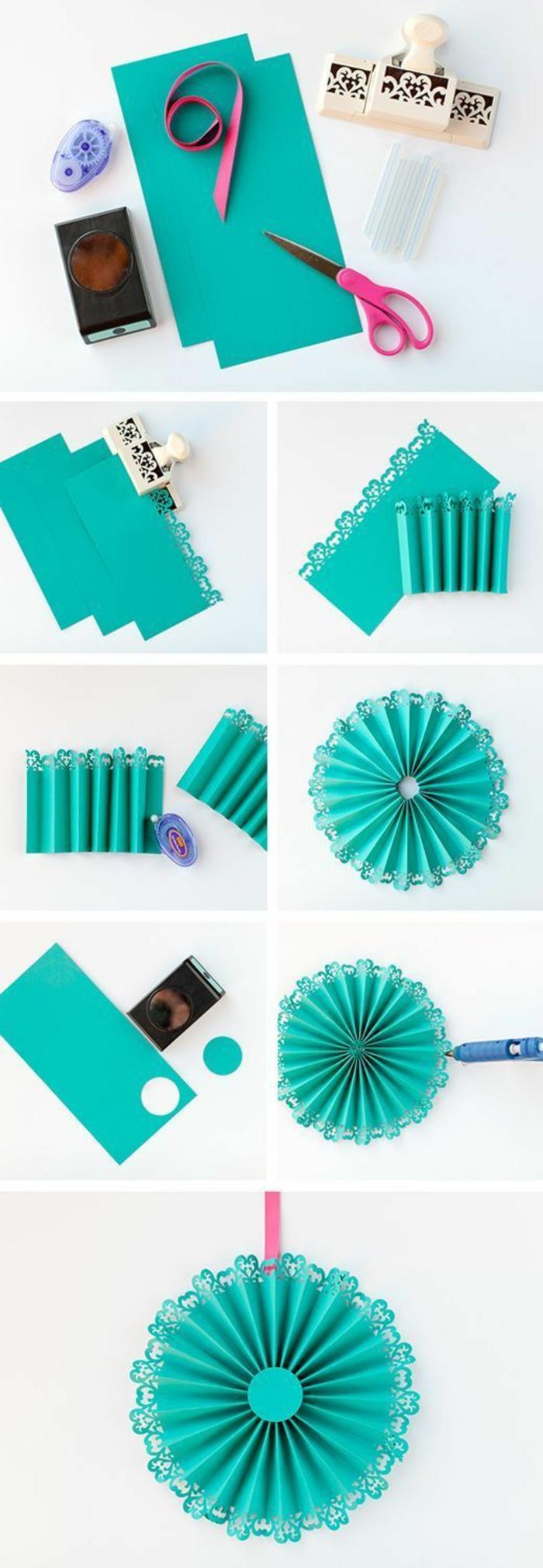 bastelideen mit papier, blaue papierblume, wanddeko selber machen