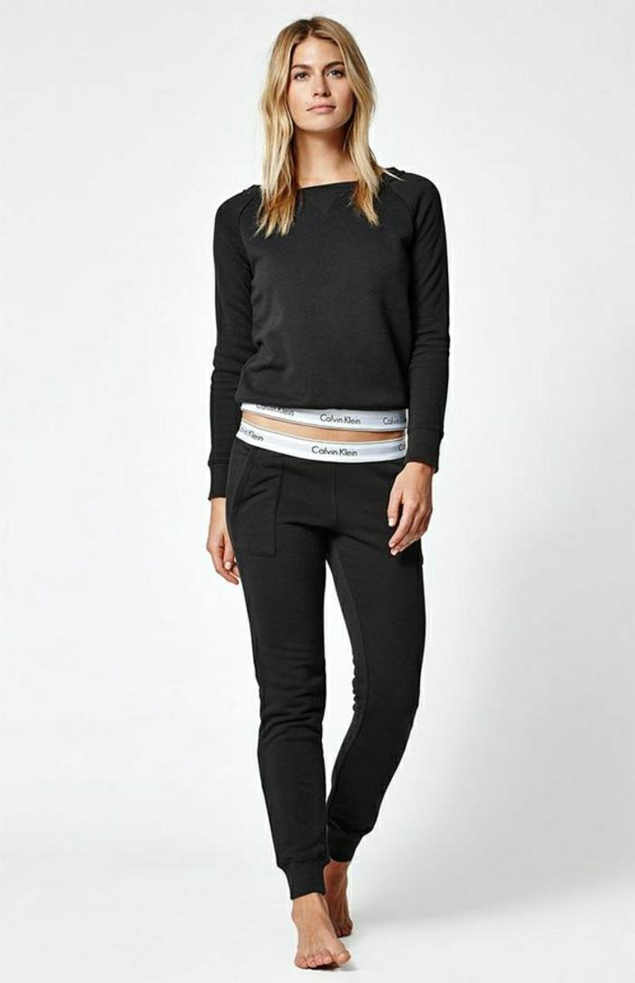stylische jogginghose damen farbe schwarz calvin klein