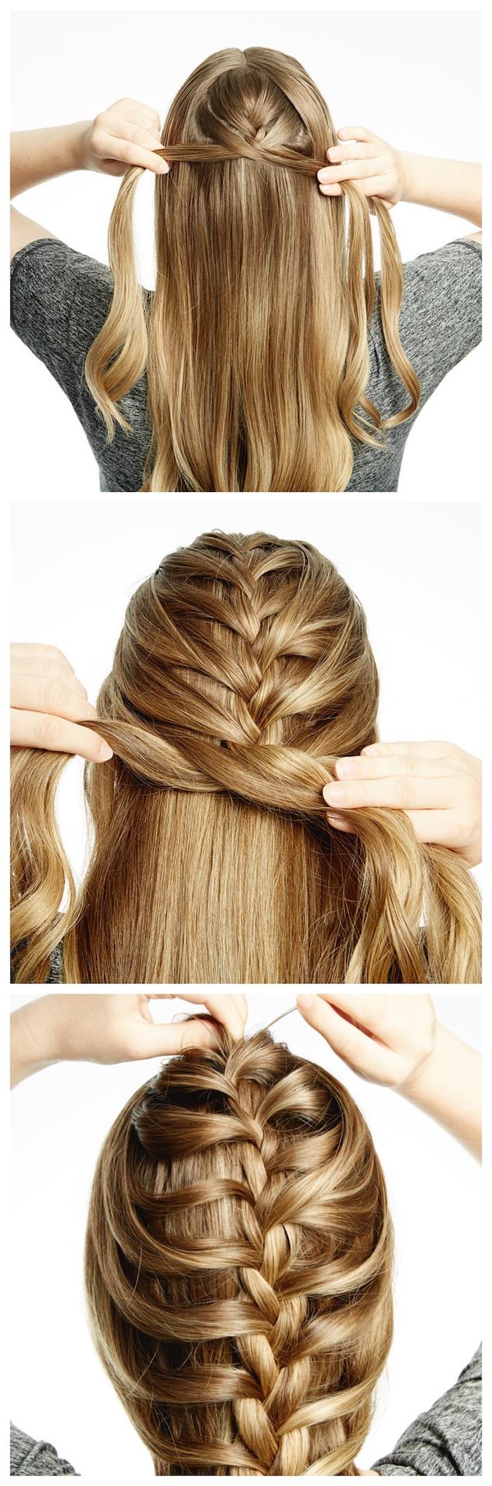 collage schritt für schritt diy anleitung lange blonde haare fischgrätenzopf flechtfrisuren mittelalter