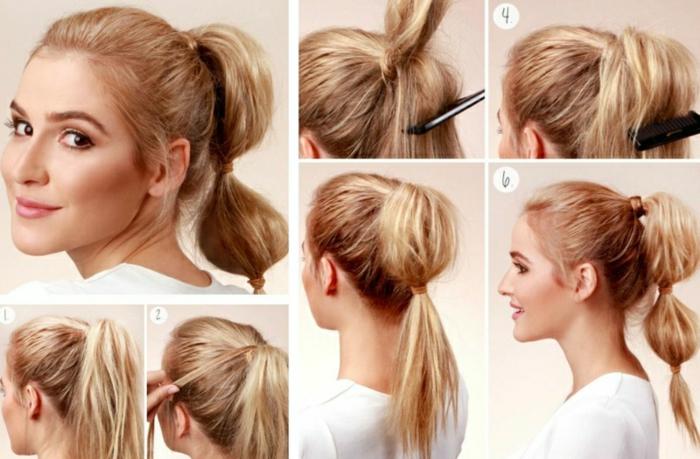 schöne Frisuren für lange Haare Schritt-für-Schritt Anleitung, Pferdeschwanz mit drei Haargummis, leicht toupiert