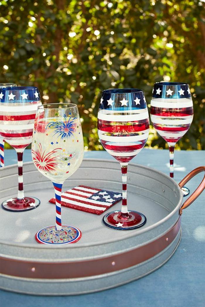 gläser dekorieren, gläser mit farbe bemalen, sterne, fahne