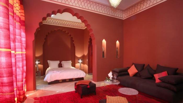 orient möbel im orientalischen stil rotes zimmer deko bett in weiß symbol für schönheit und sauberkeit deko