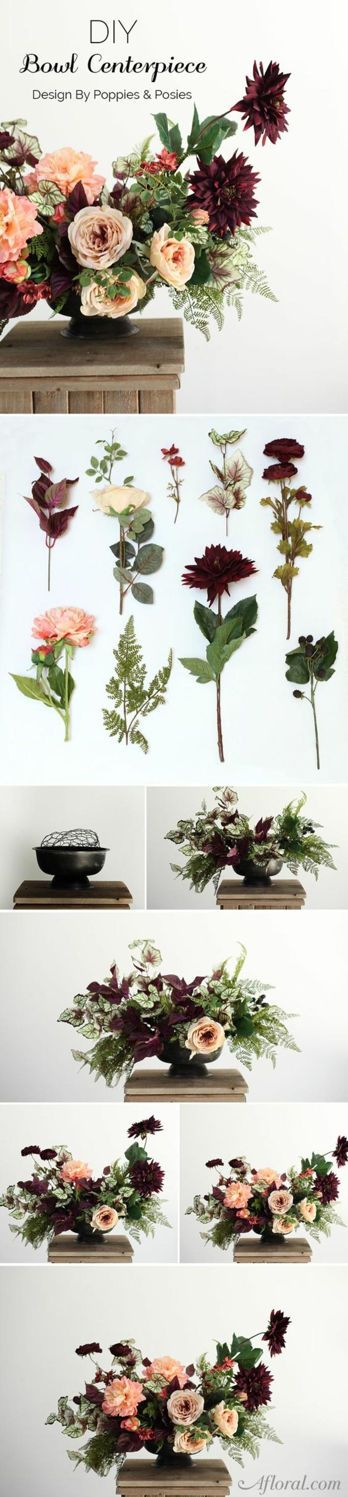 festliche tischdeko, blumen arrangieren, steckschwamm, vase, tischdekoration