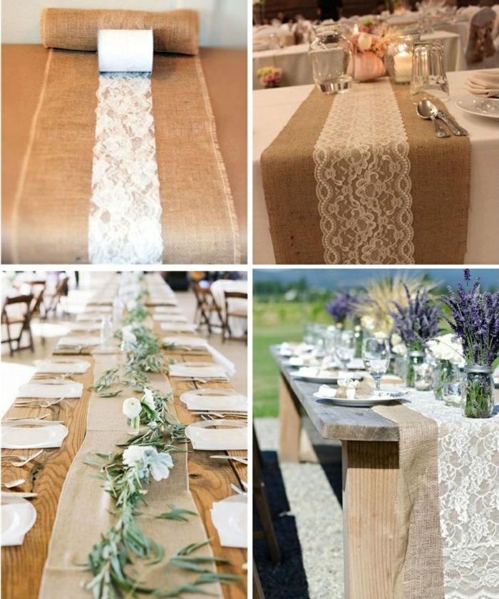 dartentisch dekorieren, einmachgläser mit lavendel, leinen, weiße spitze, girlande aus grünen blättern