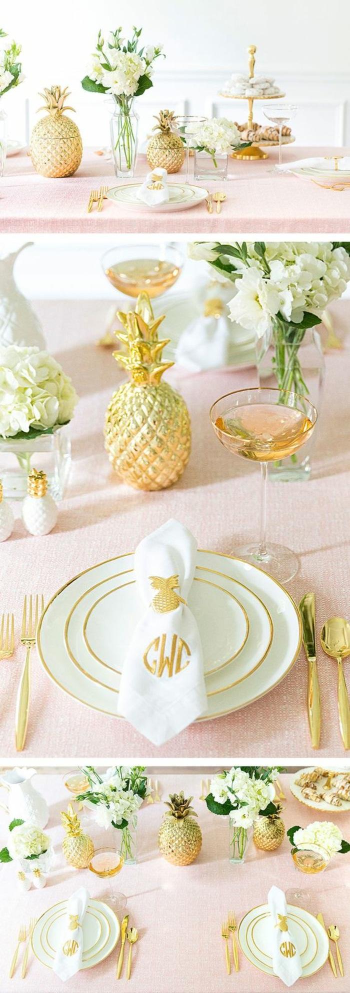 festliche tischdeko, tischdekoration in rosa, weiß und gold, ananas, goldenes besteck