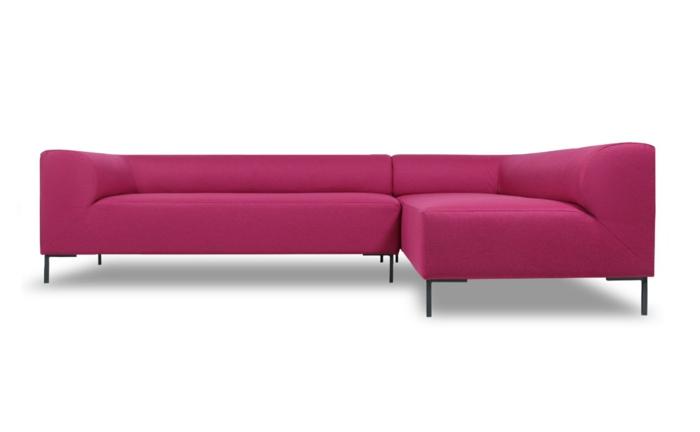 designer sofa, ecksofa in rosa mit schwarzen beinen, eckgarnitur, einrichtung
