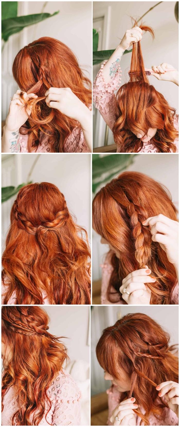 diy anleitung mittelalterliche flechtfrisuren lange rote haare mit wellen schritt für schritt frisur selber machen