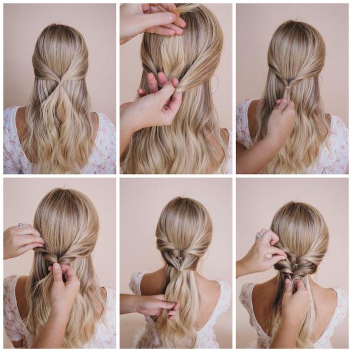 diy anleitung schritt für schritt erklärung flechtfrisuren mittelalter lange blonde haare frau im weißen kleid