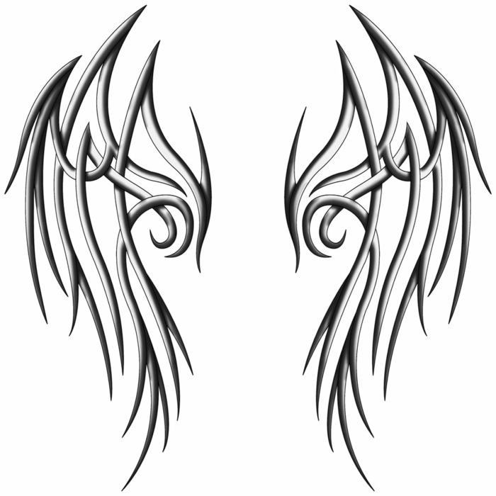 ein schön aussehender schwarzer tattoo - idee für einen tattoo mit schwarzen engelsflügeln