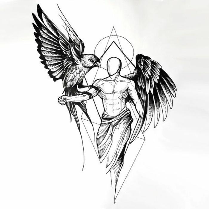 eine unserer lieblingsideen für einen schwarzen engelsflügel tattoo - hier ist ein engel mit schwarzen engelsflügeln und ein vogel mit schwarzen federn