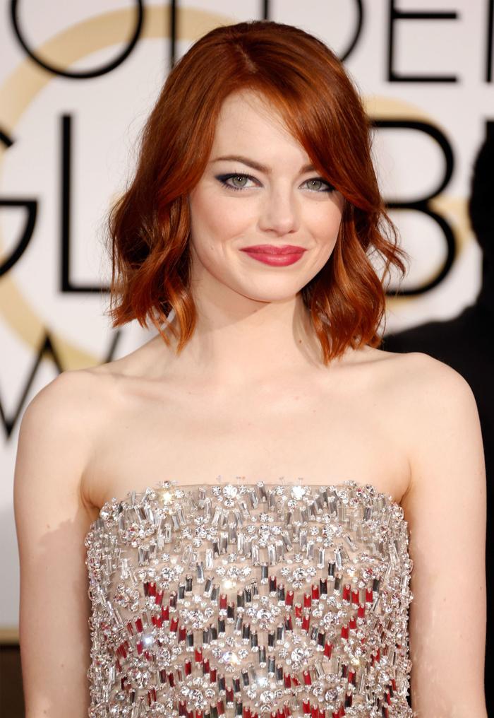 Emma Stone, überschulterlang geschnittener Bob, rotes Haar, Ideen für Kurzhaarfrisuren