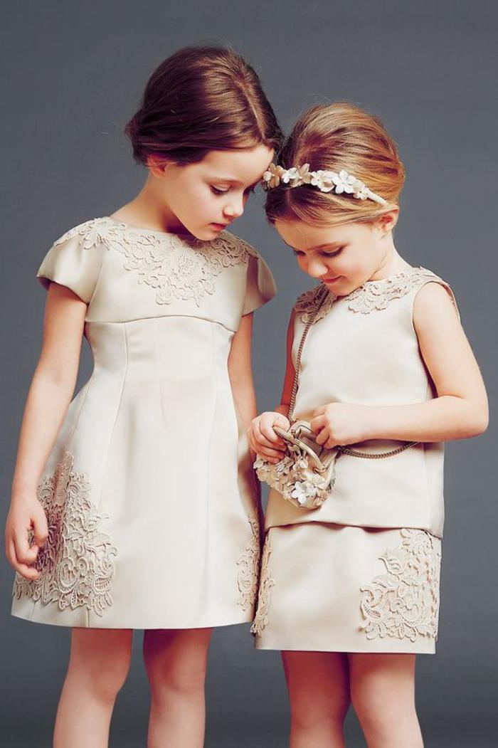 festliche Kindermode, Sommer 2017, Mädchenkleidung in Champagner, Hochzeitskleider für Kinder