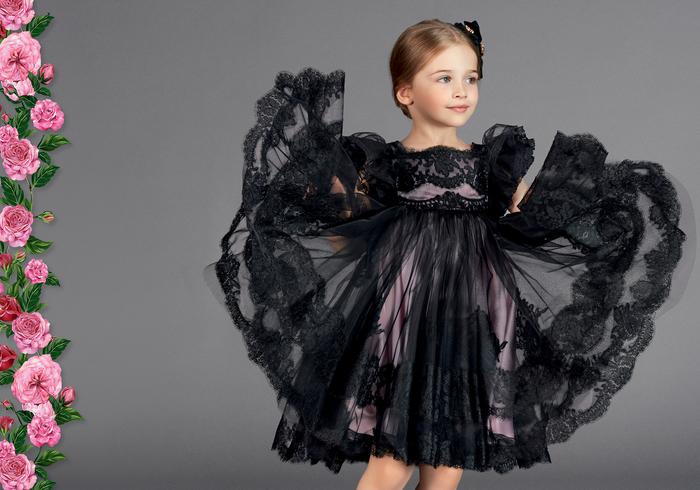 festliche Kleider für Kinder, elegantes Kleid in Lila und Schwarz, mit Spitze