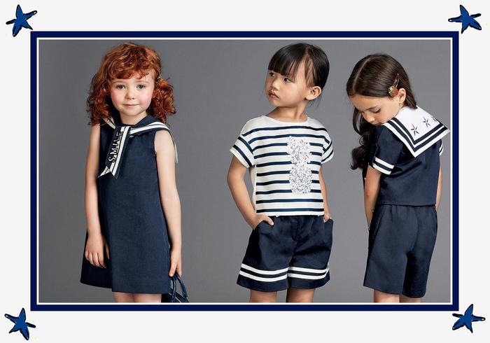 Sommertrends 2017, Mädchenkleidung in Weiß und Dunkelblau, festliche Kindermode