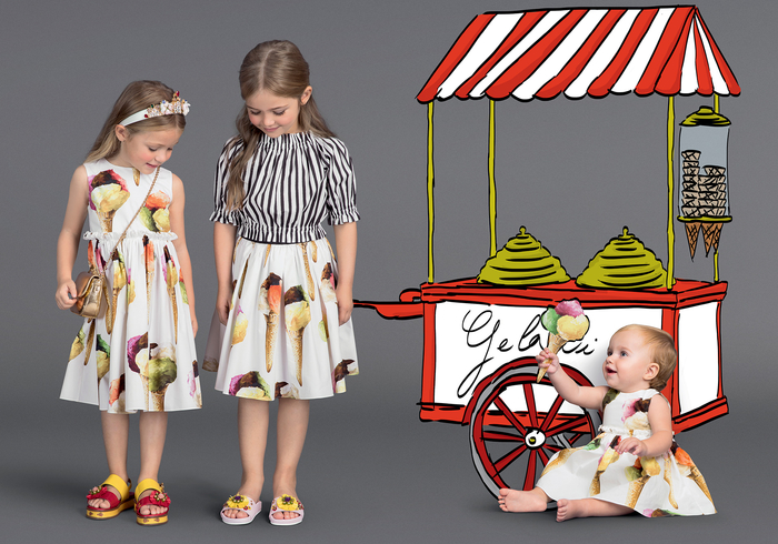 Sommermode für Kinder, Kleid und Rock mit Eiscreme-Motiv, frische und verspielte Mädchenkleidung
