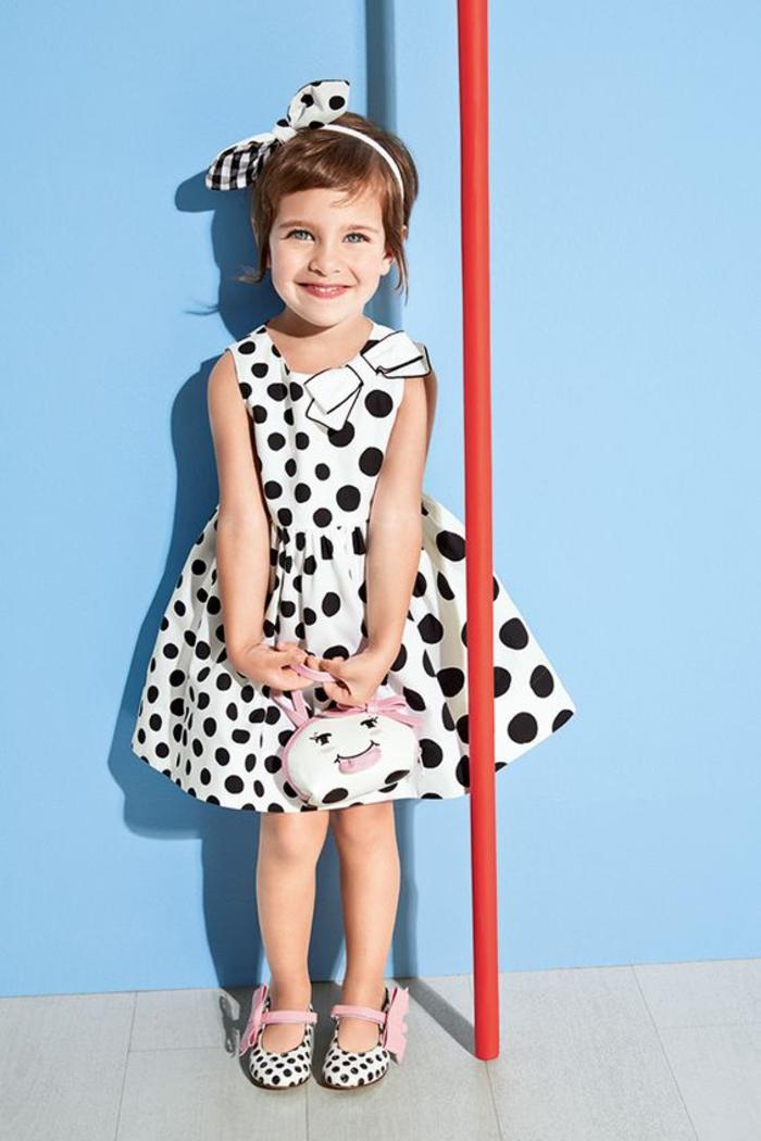 Sommerkleider für Kinder, Weißes Kleid mit schwarzen Punkten, festliche Mädchenbekleidung