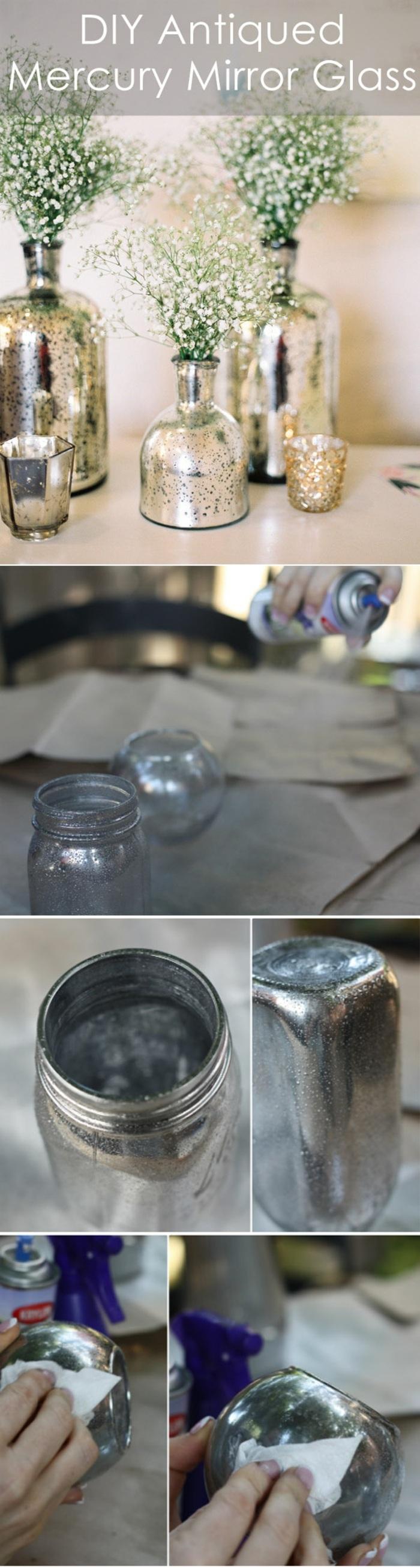 dekoration selber machen, glasvasen mit silberner sprayfarbe verzieren