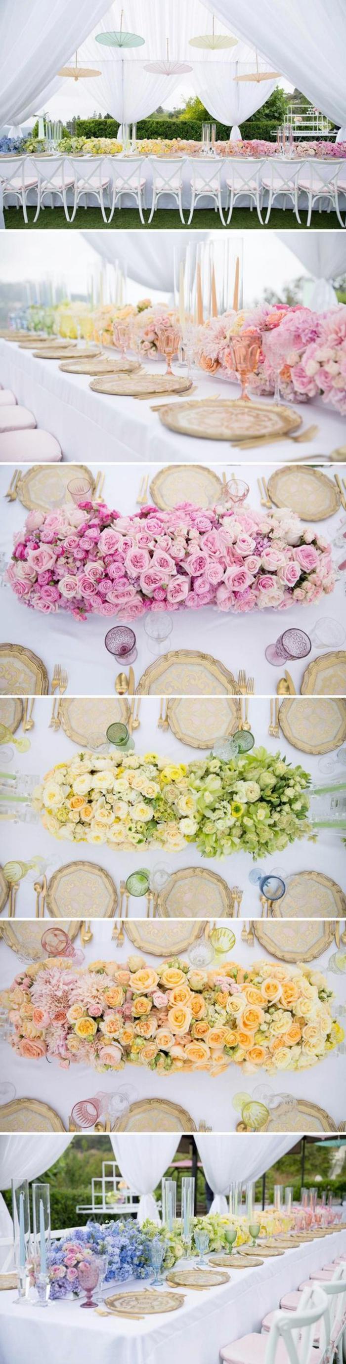 dekotipps, hochzeisdeko, langer tisch dekoriert mit blumen in verschiedenen farben